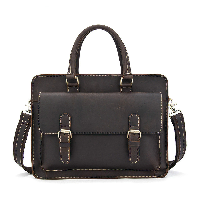 Genuine Leather Men Bag Bolso Hombre Leather Vintage Laptop Computer Bag Business Men Cowhide Handbags Briefcase Bolso Ordenador