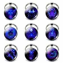 Wholesale 12 Constellation Keychain Classic Zodiac Signs Glass Dome Alloy Keyring Fashion Accessories Birthday Gift