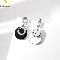 Женские асимметричные серьги-капельки ручной работы из стерлингового серебра 925 пробы, круглые серьги-подвески, модные ювелирные изделия