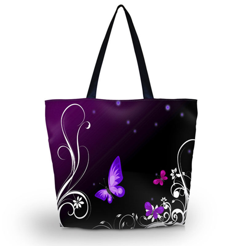 Purple Butterfly Soft Foldable Tote Large Capacity Women Shopping Bag Bag Lady s Daily Use Handbags Casual Beach Bag Tote