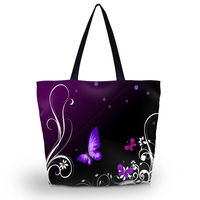 Purple Btterfly Soft Foldable Tote Large Capacity Women Shopping Bag Bag Lady S Daily Use Handbags