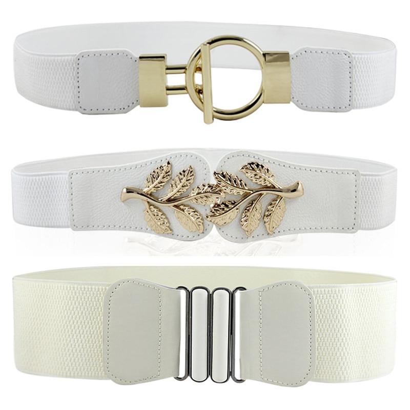 Low Price Stretch Wide Waist Fashion White Large Buckle Belt Girdle Elastic Solid Women Female Body Sculpting Cummerbund New