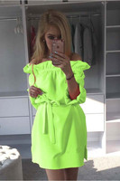 2016 ebay Europäische Außenhandel selbst-anbau Candy Fluoreszenz Farbe Verband Entlüftungs Kleid Frau 1302