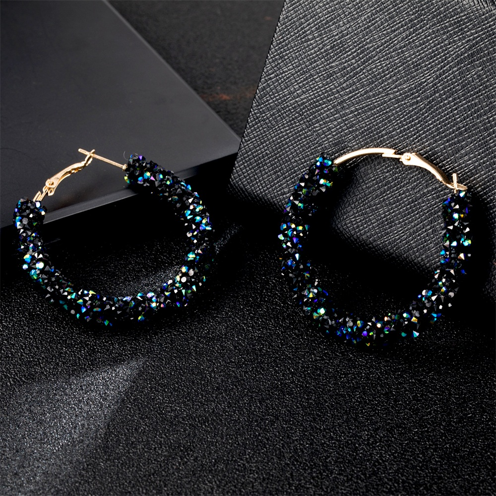 Fashion Charm Stud Earring Crystal Ring Earrings Rhinestone Bright Round Geometric Earrings Women's Jewelry