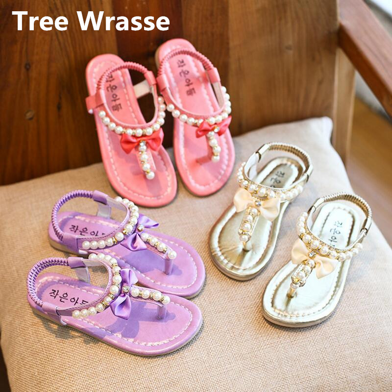 Children Bowtie Sandals Summer New Kids Pearl Flip Flop Breathable Princess Sandals Baby Girls Elastic Flats Single Shoes