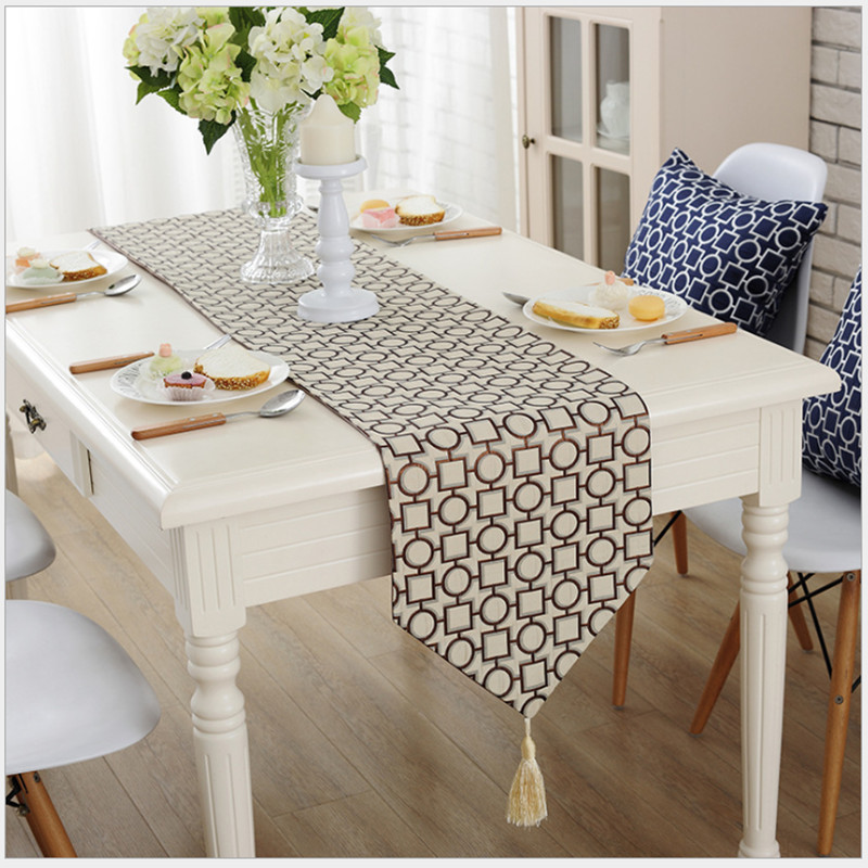 Delightful Simple Geometric Patterns Jacquard Table Runner. Exquisite Table Cloth.  Classic Beige And Pastel Blue Table Runner Tablecloth. In Table Runners  From Home ...