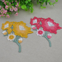 40 Pieces Red Yellow Flower Embroidered Motif Applique Lace Fabrics Venise Patches Scrapbooking For Repair Decorated Sewing