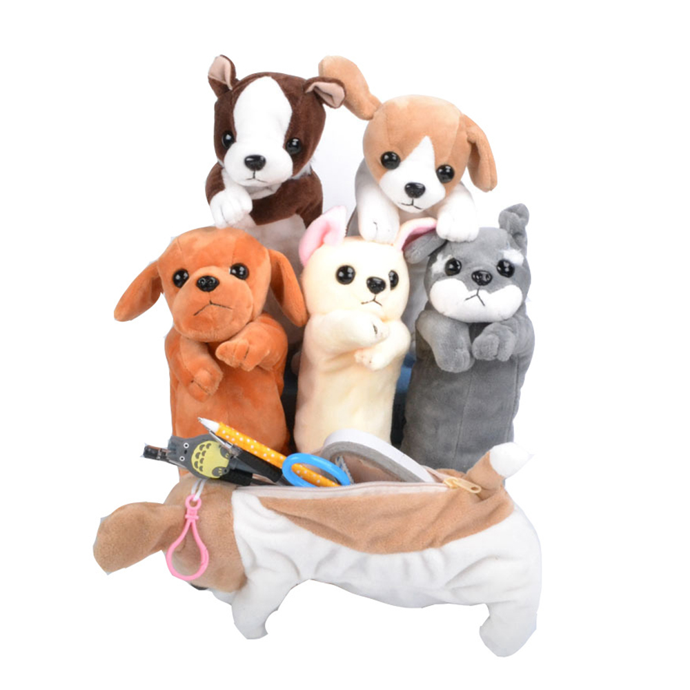 New Cure Cartoon Plush Dog Pencil Case Animal Pen Bag For Kids School Supplies Stationery