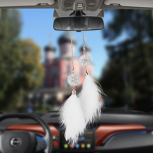Car Pendant Diamond Crystal Ball with Feathers Automobile Decoration Charm Auto Interior Rear View Mirror Hanging Ornament Gifts