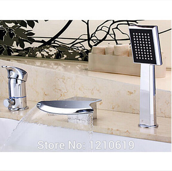 US Free Shipping Wholesale And Retail Modern Fashion 3Pcs Bathtub Faucet Set Waterfall Single Handle With Hand Shower Deck Mount wholesale and retail deck mounted square waterfall bathtub faucet single handle chrome finish bath spray w hand shower