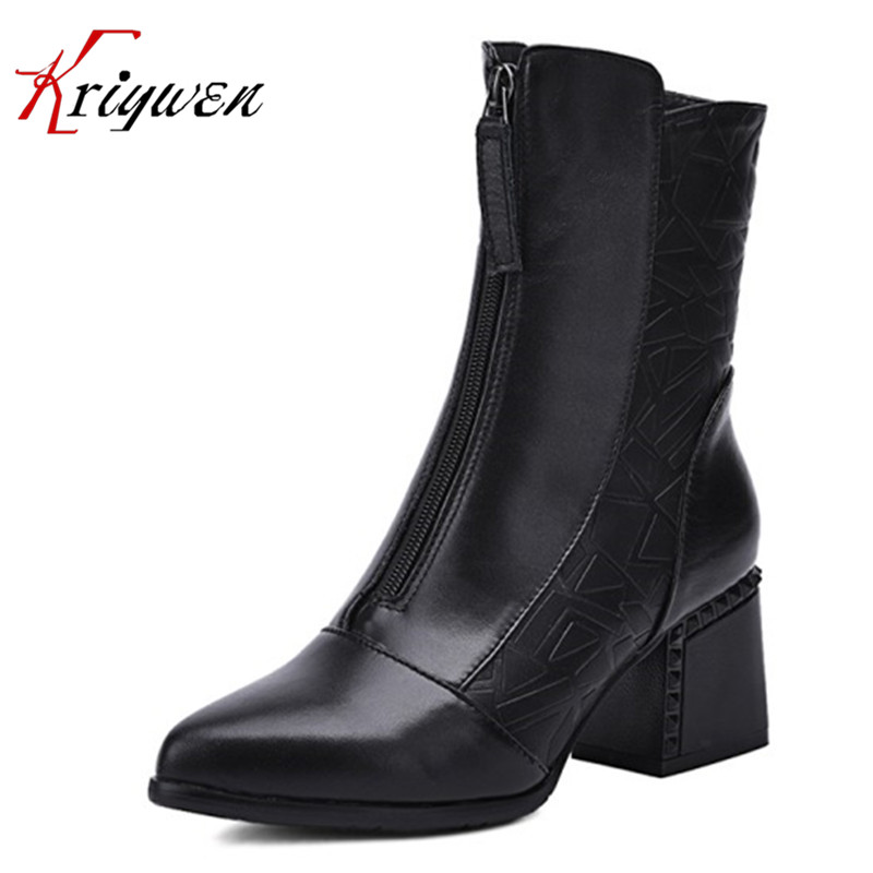 ФОТО 2017 autumn winter shoes for party genuine leather women ankle boots short plush band elastic motorcycle  shoes Big Size 34-43