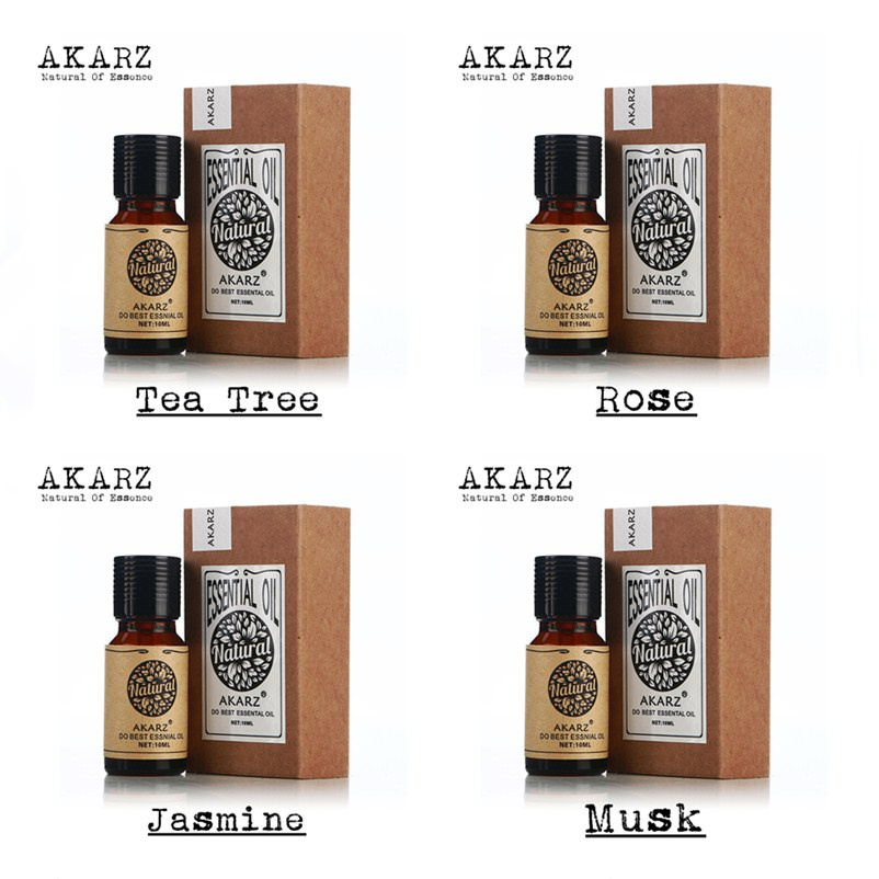 Famous brand AKARZ 100% Pure Jasmine tea tree Musk rose Essential Oils Pack For Aromatherapy, Massage,Spa, Bath 4pcs/lot