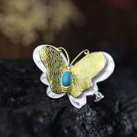S925 silver jewelry atmosphere lady gilded butterfly Ring