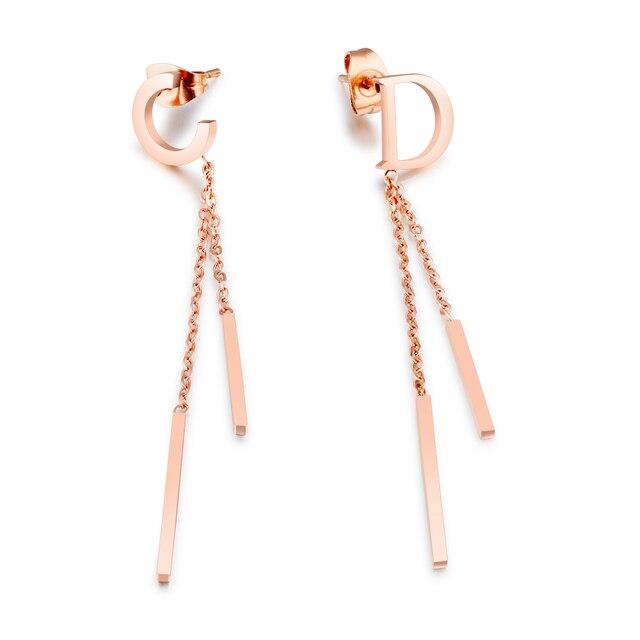 Trendy C & D Buchstaben Baumeln Ohrringe Für Frauen Rose Gold farbe ...
