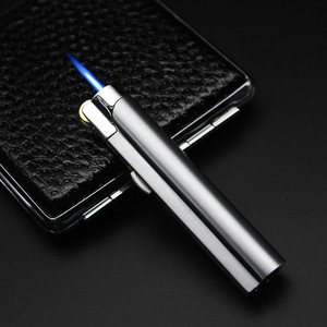 Image 3 - New Strip Wheel ignition Torch Lighter Windproof Jet Turbo Pipe Lighter Metal Outdoor Cigar 1300 C Butane Gas Window No Gas