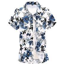 Casual Shirt Man Cotton Short sleeve Floral Blouse Men Hawaiian Mens Shirts Flower Beach leisure Summer