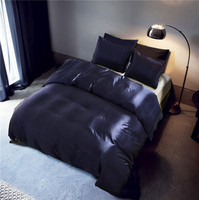 Aitificail Silk Pure Color Fashion Duvet Cover Set King/Queen/Twin Size 3pcs/set Simple Print Bedding Quilt Sheet 200*200