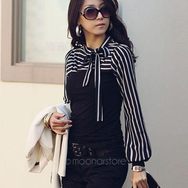 2017 Elegant Office Lady Women Black White Striped Blouses Bow Bowknot Long Sleeve Shirt Blouse Tops S M L