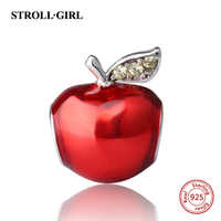 New Collection Silver 925 Beads Red Enamel Apple Charms Beads Fit Pandora pandora Bracelets For Jewelry Making Christmas Gifts