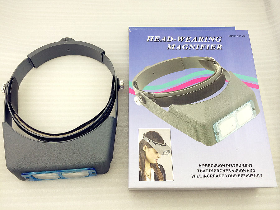 Hot sale Free shipping Double Lens Head-Founted Headband Reading Magnifier Head Wearing Magnifying Glass Loupe 4 Magnifications