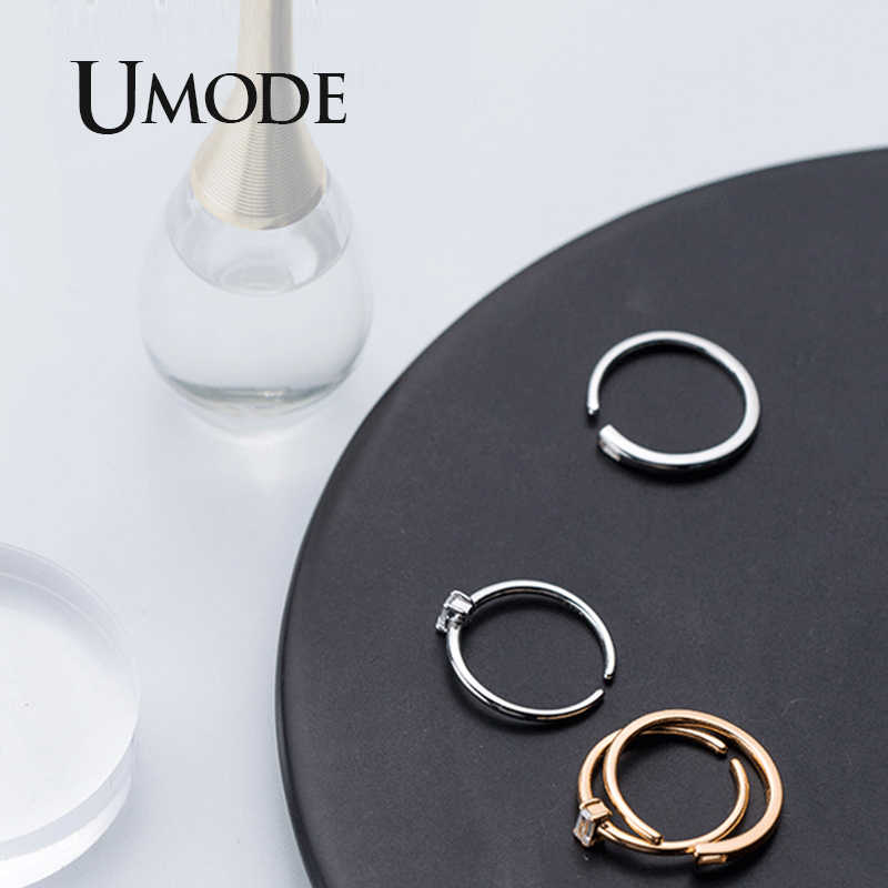UMODE 100% 925 เงินสเตอร์ลิงแหวนเงินผู้หญิง Zirconia คริสตัลเรขาคณิตแหวนเปิดเครื่องประดับ 2019 ใหม่อินเทรนด์ ULR0739