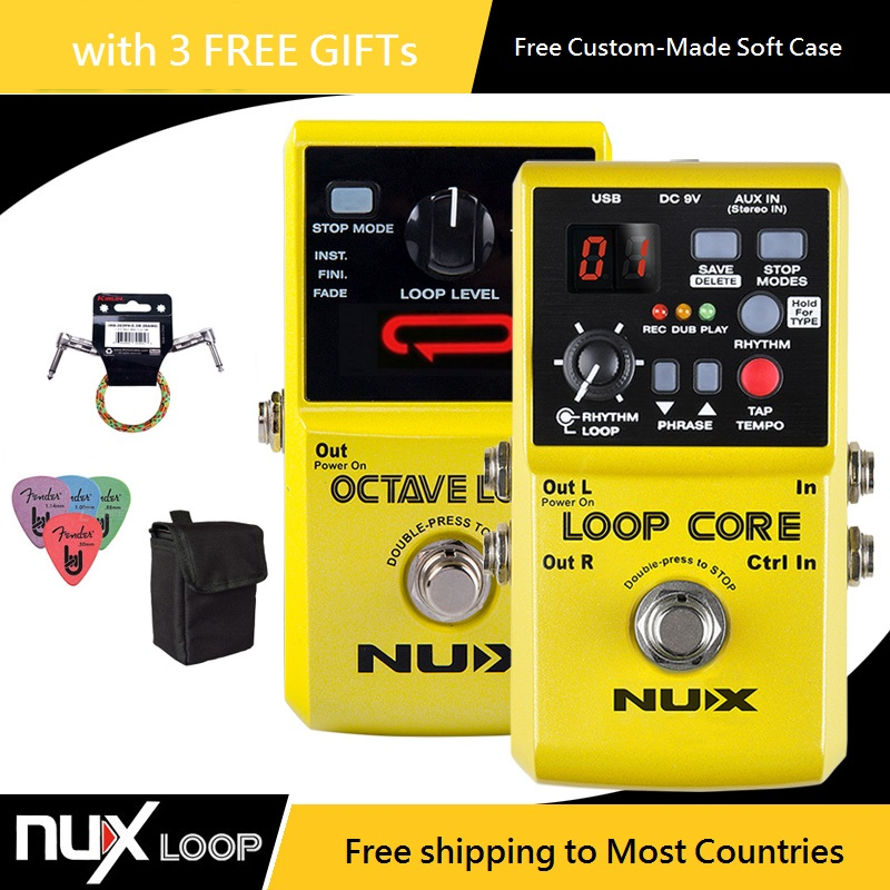 NUX Loop Core / Octave Loop Guitar Effect Pedal Looper Pedal Guitar Effect with *Free Patch Cable and Pedal Case and Picks* nux octave loop looper guitar effect pedal with 1 octave effect infinite layers with bass line true bypass guitar pedal effect