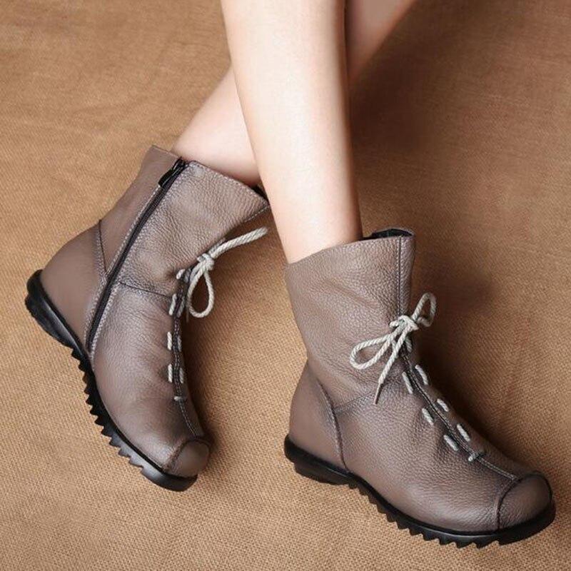 Winter Mode Nieuwe 2016 Laarzen Lederen Casual Schoenen Vrouwen 6Hg8wq8BA