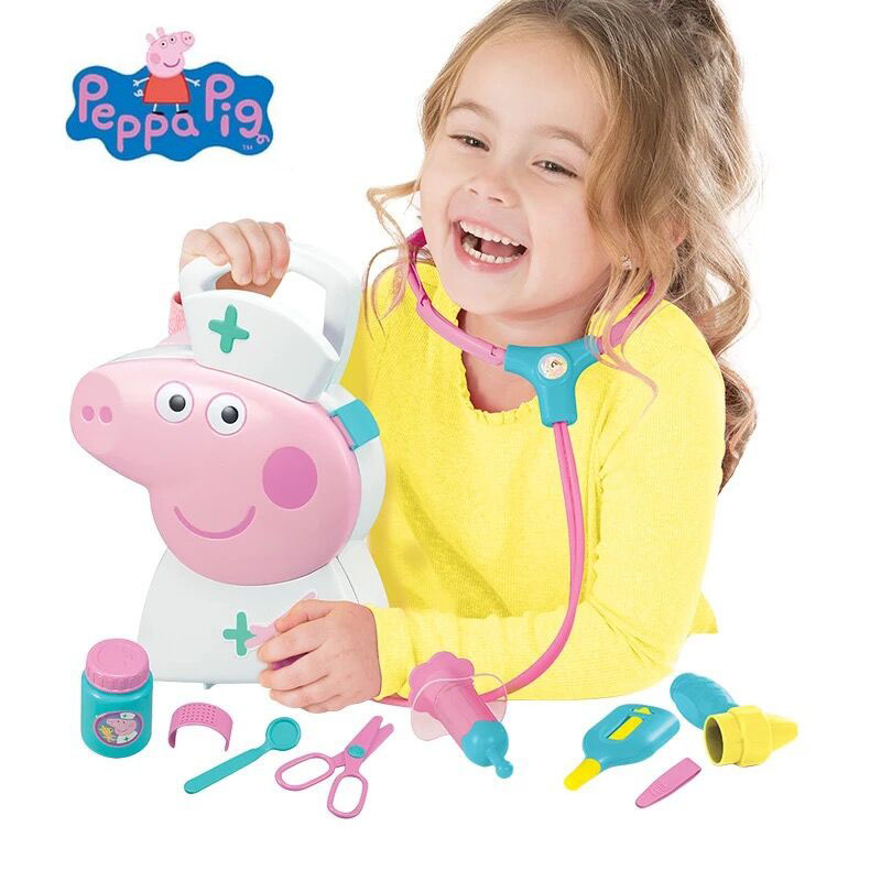 2018 Hot Genuine PEPPA PIG peppa's medic case doctor kit Kids Childrens Toy Role Play Pretend Doctor Medic Case Play Set Kit
