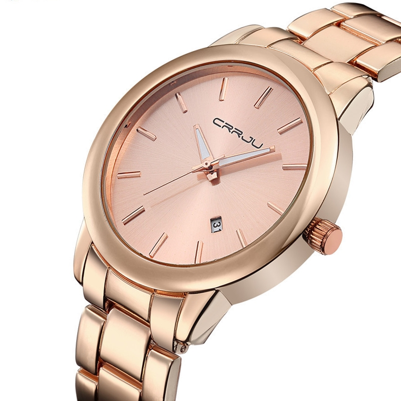 2016 New Fashion CRRJU Watches Men Dress Watch Stainless Steel Rose Gold Men Casual Auto Date Quartz Wristwatches reloj hombre  2016 new high quality women dress watch crrju luxury brand stainless steel watches fashion wrist gift watch men wristwatches