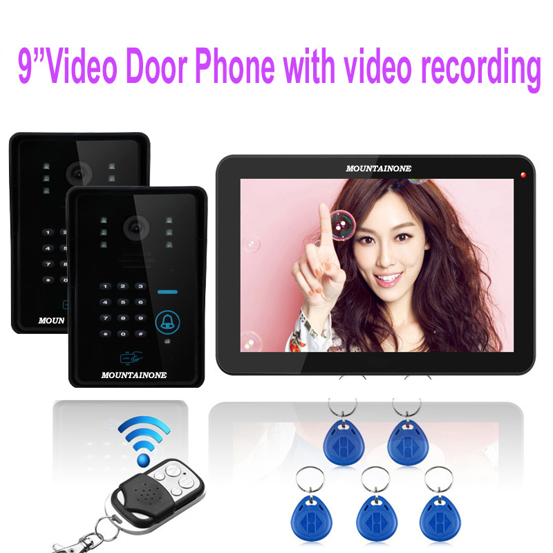 MOUNTAINONE home security intercom system 9display screen with TF Card slot+2X1000TVL OutdoorCamera with FRID Panel