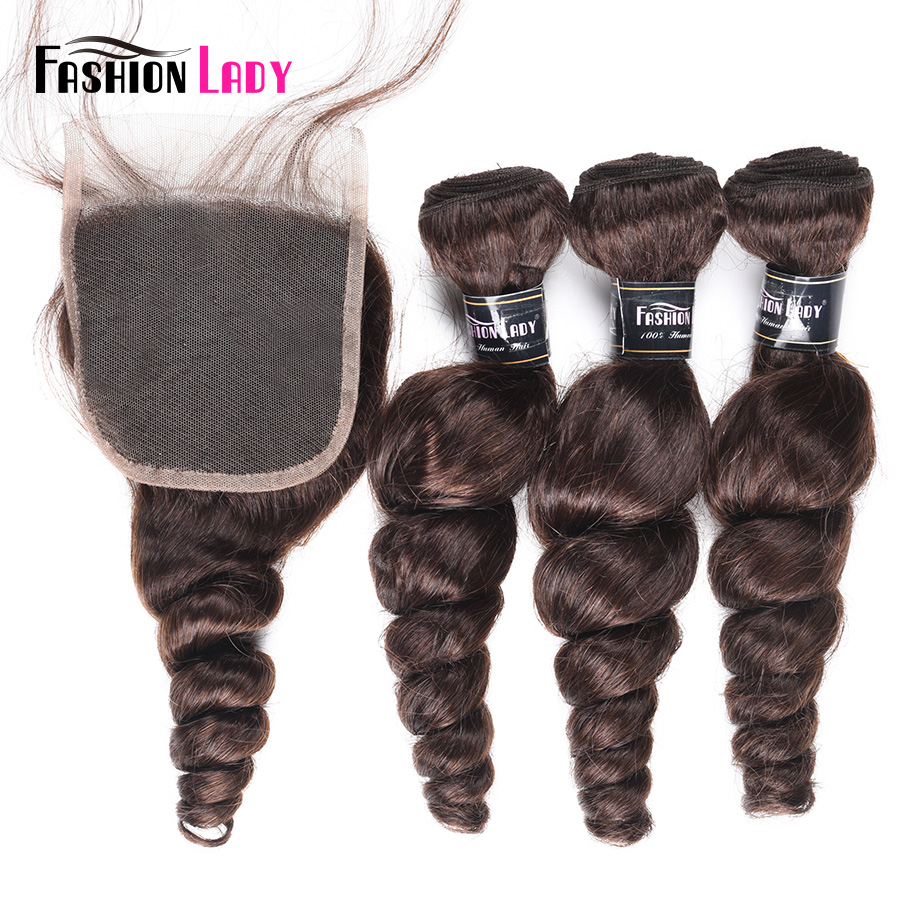 Fashion Lady Pre-Colored Peruvian Loose Wave Bundles With Closure 2# Dark Brown Bundles Three Bundles With Closure Non-Remy