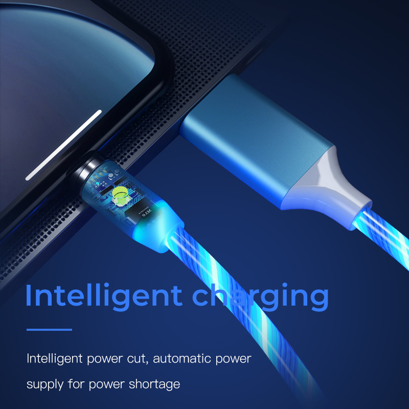 LED Glow Flowing magnetic Charger usb cable Type C Micro USB C 8 Pin Charging for