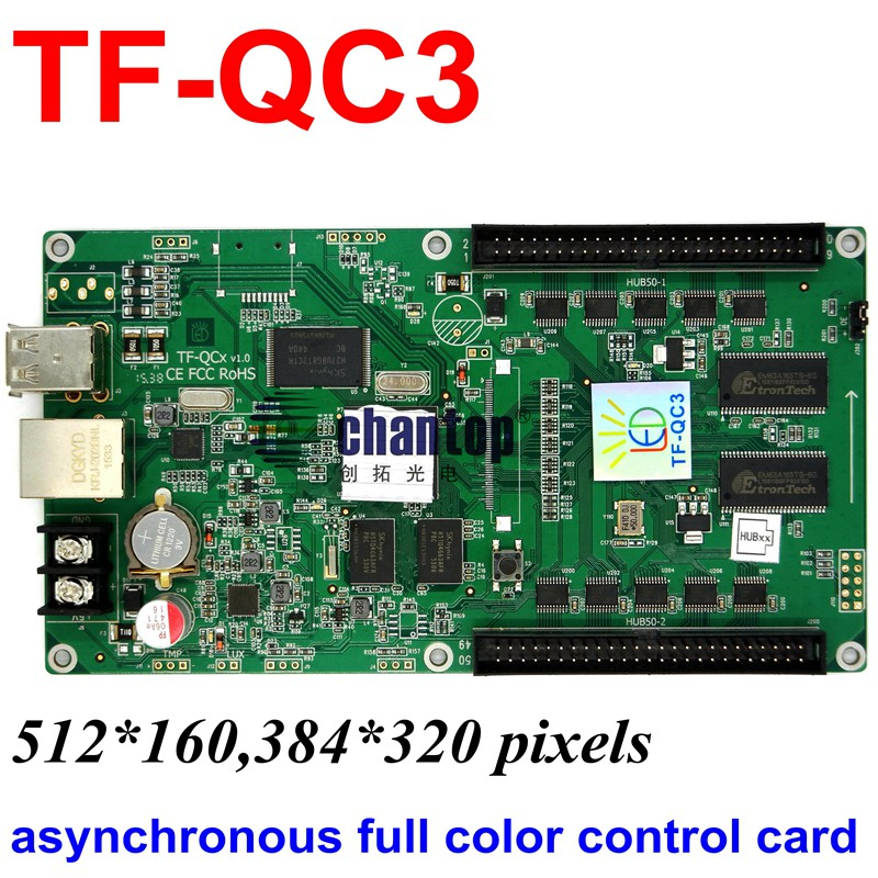 цена на TF-QC3 USB + network port full color asynchronous led control card 512x160 ,384x320 pixels support video RGB module controller