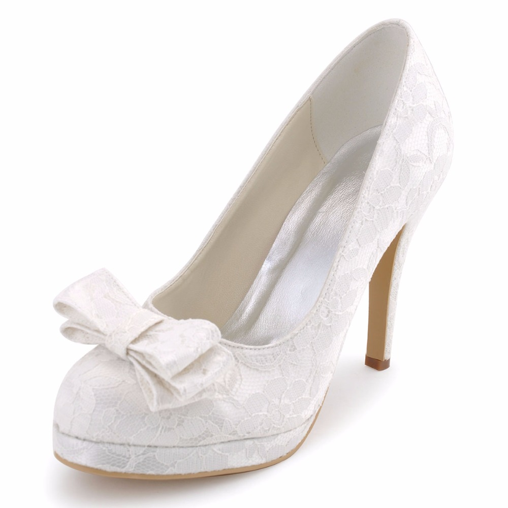 ФОТО Women Closed Toe White Ivory High Heel Platform Lace Shoes Bride Bridesmaid Wedding Evening Dress Bridal Pumps EP31020-PF