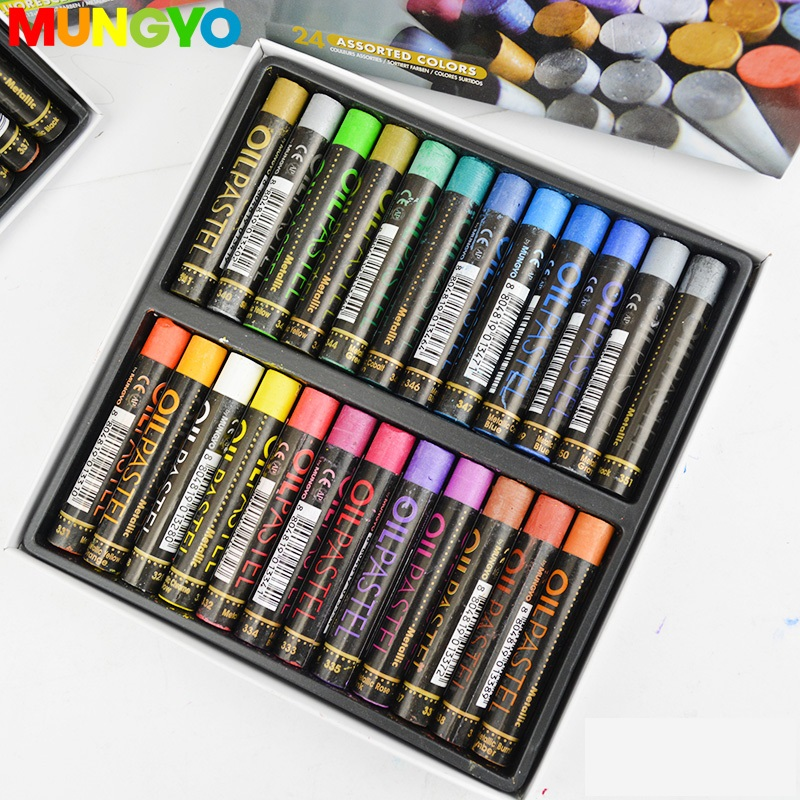 MUNGYO  Metallic And Fluorescent  12/ 24 Colors Gallary  Artists Oil Pastels Mop Series Oil Paint  ART Drawing Pastels