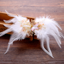 Trendy Feather Pearl Butterfly Hairpins for Women Hair Barrettes Romantic Bride Wedding Accessories White Butterfly Hair Jewelry