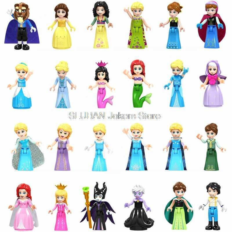 Legoing Friends Figures Princess Belle Elsa Ariel Cinderella Anna Building Blocks Toys for Children Friend for Girl Legoings Toy
