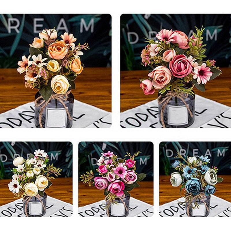 12 цветочных бутонов, винтажный Шелковый цветок, Европейский искусственный осенний яркий пион, Искусственный лист для «сделай сам», украшен...