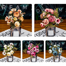 12 cabezas de flores Flor de seda clásica Flor de otoño europeo artificial hoja falsa peonía vívida para decoración de fiesta en casa de boda DIY