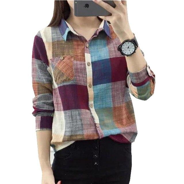d58115f97cd Винтаж Рубашки в клетку приятно осень с длинным рукавом белье хлопковая  блуза рубашка в клетку женская