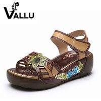 2017 Summer Shoes Women Sandals Genuine Leather Flat Platform Mixed Color Flower Sandals