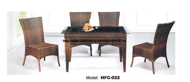Dossier Haut Chaise En Rotin Table Verre Combinaison Ensemble 5 PCS Moderne Loisirs Balcon