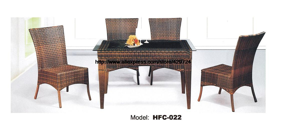 High Back Rattan Chair Glass Table Combination Set 5 PCS Modern Leisure Balcony Outdoor Desk Table Chairs Garden Furniture