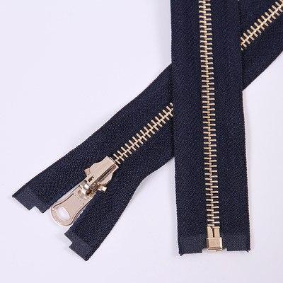 Alipress 5#90 см длинный открытый конец молния светильник золотые зубы металлические молнии для DIY шитья пуховик Куртка - Цвет: navy blue