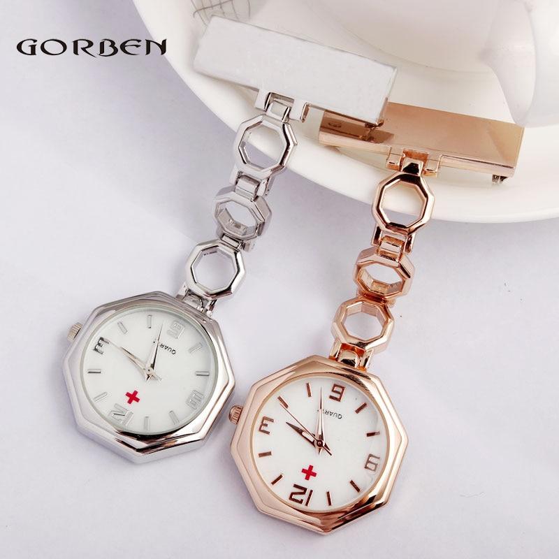 Rose goud kristal Clip-on Fob dames verpleegster horloge Quartz broche Octagon wijzerplaat opknoping volledig stalen verpleegkundige horloges Arts horloges