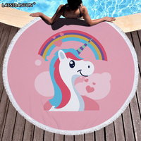 Pink Cute Printed Unicorn Microfiber Large Round Beach Towel Toalla Microfiber Thick Terry Cloth With Tassel