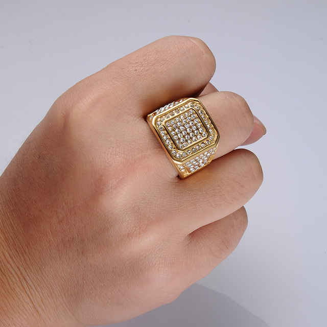 Iced Out Square Crystal Ring