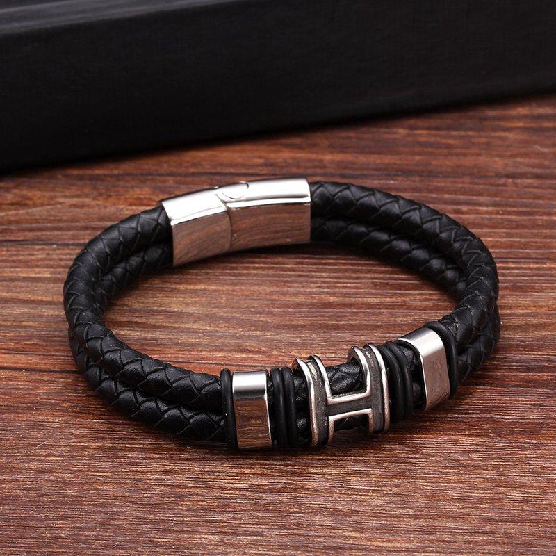 Brand Design Diy Double layer Men Male Genuine Leather Bracelets Bangles Trendy Stainless Steel Chain Link Charm Bracelets