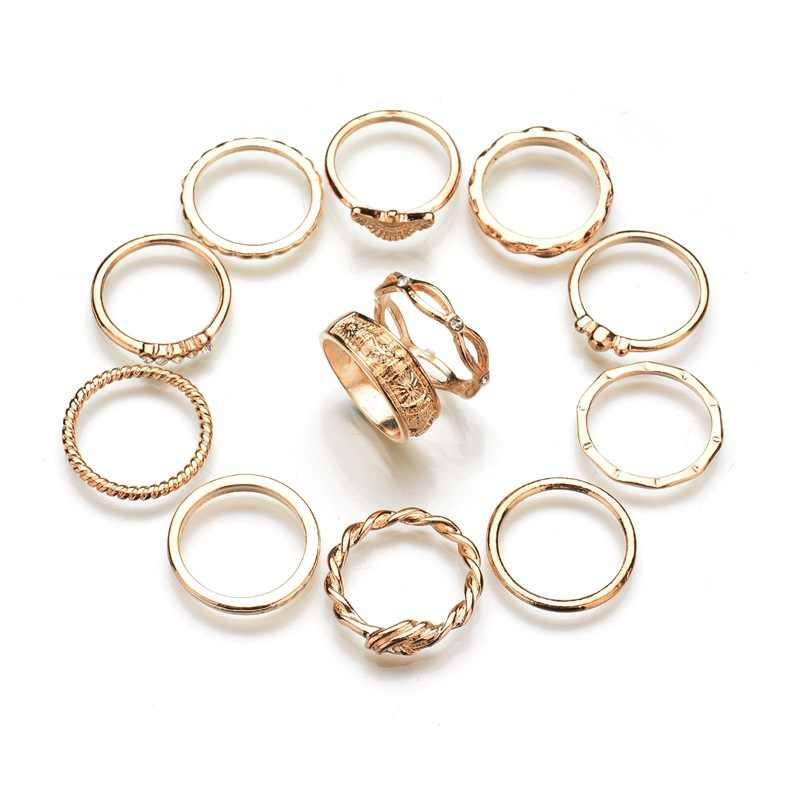 2018 New 12pcs 1set Charm Gold Color Midi Finger Ring Set for Women Vintage Punk Boho Knuckle Party Rings Jewelry Gift for Girl
