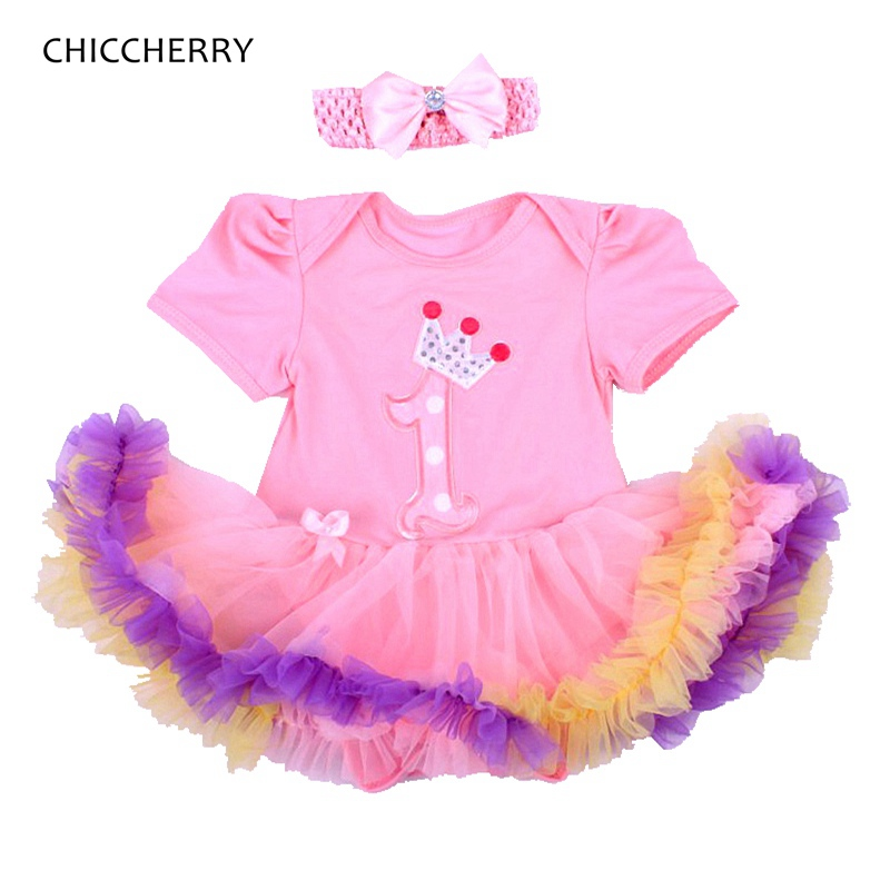 Pink Crown 1st Birthday Tutu Outfits for Girls Lace Bodysuit Dresses + Headband 2pcs Tutu Sets 1 Year Girl Baby Birthday Dress himipopo 2 pcs baby girls bodysuit dress